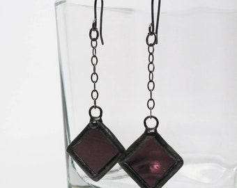 Plum Pendulum - Sterling Silver Stained Glass Earrings