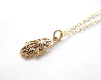 Gold Filled Hamsa  Necklace. Hamsa Jewelry, Gold Filled Jewelry, Yoga