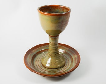 Chalice and paten  - chalice and paten communion set - brown communion set - liturgical ware - communion ware W313