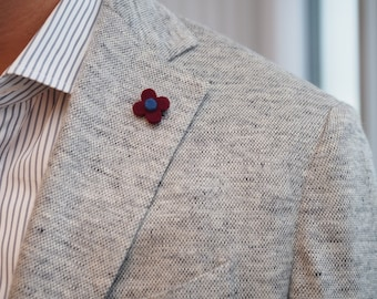 Burgundy wool felt flower lapel pin // mens flower lapel pin // wedding boutonniere // Mens Lapel Flower // Men's Lapel Pin // Gifts for Men