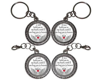 Hug You In Heaven, Dad, Mom, Key Ring, Key Chain, Purse Charm, Zipper Pull, In Memory Of, Memorial, Remembrance, Bereavement, Keepsake