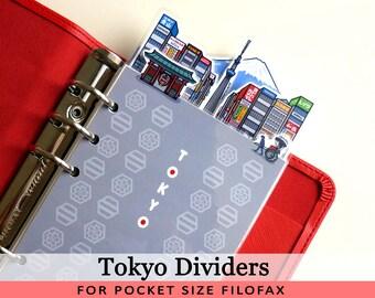Pocket Size Cute Kawaii Tokyo DIY Dividers 5 Top Tabs for Filofax Organiser Louis Vuitton PM, Kikki.K Small, Printable PDF Instant Download