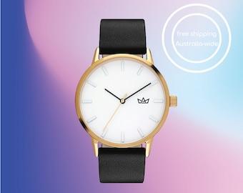 Designed in Australia - Minimalist Women's Watch in Black and Gold.