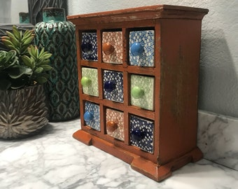 Apothecary Cabinet 9 Ceramic Drawers Earring or Jewelry Box Shabby Chic Chest of Drawers, Holds Spices or Loose Tea Item #592495234