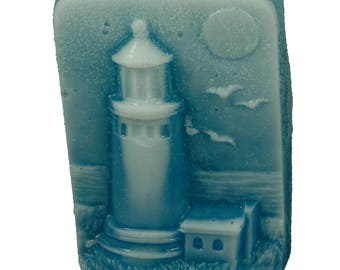 Cameo Of Lighthoue and Sea Soap Sculpture  with goat's Milk Glycerin, Aloe and Vitamin E