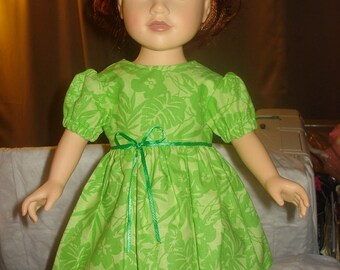 Handmade 18 inch Doll full skirt dress in lime green floral - ag06
