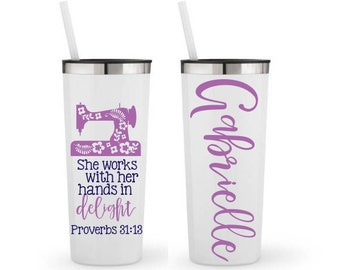 She Works With Her Hands In Delight, Proverbs 31:13, Quilter,- Personalized 22 0z. Roadie Tumbler w/ Straw & Lid, Insulated Stainless Steel
