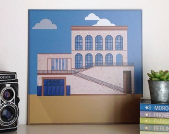 Museo del Novecento, Milano, illustrated by Milan Icons. Digital print on aluminium, 30 x 30 cm