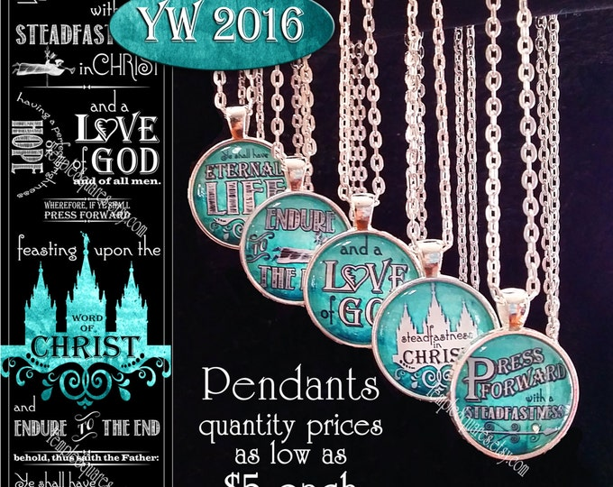 Press Forward Pendant YW Young Women or missionary gifts 2016 theme. Only 5 dollars each!
