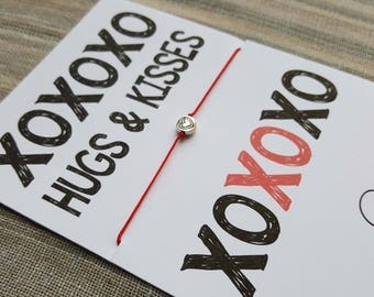 Gift Bracelet - XOXO Bracelet -  Inspirational - Gift for Her - Charm Bracelet - Cord Bracelet  - Birthday Gift - Bracelet for Women - Wish