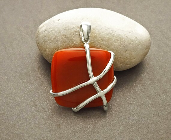 Red Agate Filigree Pendant - Sterling Silver Pendant - Square shape - Red agate Gemstone - Intricate Filigree - Lace - Unique Pendant - Bold