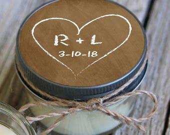 Set of 12 - 4 oz Leather Color Candle Wedding Favor Lavender Personalized Wedding Favors // Chalkboard Purple Heart Wedding Favors