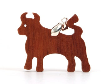 Wood Ox Necklace, Wooden Farm Animal Pendant, Bull Necklace, Year of the Ox, Bull Jewelry, Jatoba