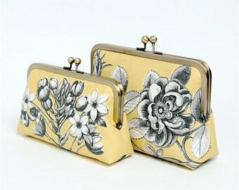 Floral Yellow Yellow Linen Clutch Bag, Bridesmaid clutch, Weddings, Formal clutch purse, Bag Noir, Linen clutch