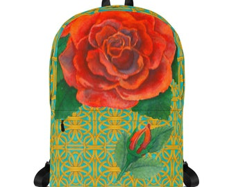 Roses on Blue and Gold Backpack