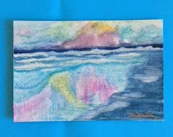 Seaside Beach watercolor postcard