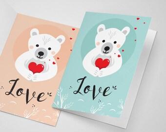 Printable, Carte Love à télécharger, Papeterie à Imprimer, Carte d'amour à télécharger, Ourson, Love card, fête amour, déclaration