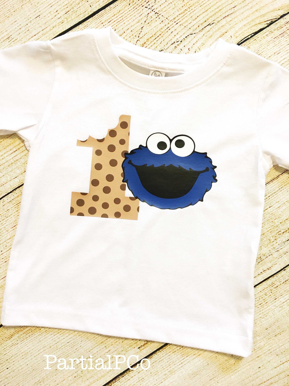 Cookie Monster First Birthday Shirt smash cake 1 tough