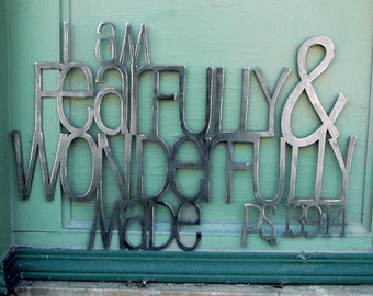 Fearfully and Wonderfully Made Metal Scripture Wall Art for Babies room- Psalm 139:14