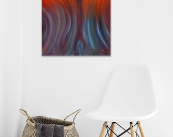 Mermaid painting Mermaid art Abstract oil painting on canvas Mermaid wall art Fire and Water Red Purple abstract wall art Original art