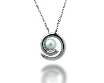 Taormina White Pearl Pendant in Stainless Steel. Elegant Modern and Unique