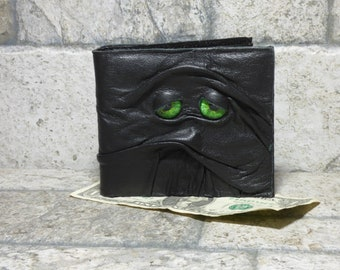 Leather Wallet Monster Face Fantasy Magic The Gathering Horror World Of Warcraft Zombie Fathers Day Gift Gray Black 531