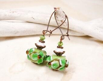 Copper Green Earrings with lampwork beads Dangle earrings Flower earrings Wedding jewelry