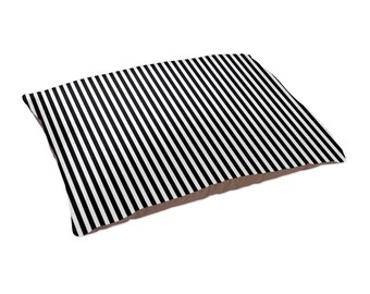 "Stylish Pet Bed, Black & White Stripe Large Pet Bed 30"" x 40"", Stylish Dog Bed, Modern Striped Pet Bed Cushion, Washable Pet Bedding"