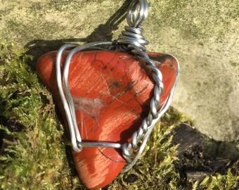 Red Jasper Wire Wrap Pendant Necklace Jewelry