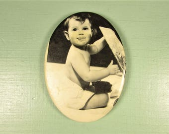 Picture Pocket Mirror - Vintage Black and White Baby Photograph