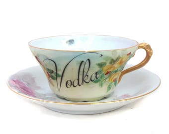 SALE - Damaged - Vodka Altered Vintage Teacup