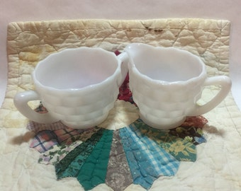 Vintage Sugar and Creamer Set - Elegant White Milk Glass - Beautiful Faceted Block Design