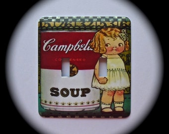 METAL Decorative Double Switch Plate ~ Soup Can, Light Switchplate, Switch Plate Cover, Home Decor