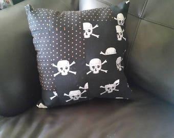 Skull and Crossbones Halloween Patchwork Quilt Pillow