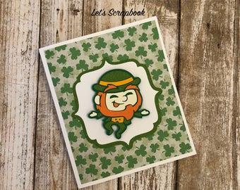 St Patricks Day Card, Leprechaun Card, Leprechaun, Die Cuts, Cards, Green, Shamrocks, Shamrock Card, Greeting Cards, Clover, Lucky