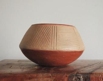 San Juan Pueblo Pottery, Tomasita Montoya Pot, Redware Indian Art Pottery Vase Bowl, 1940s Native American Ohkay Owingeh Fine Art Ceramics