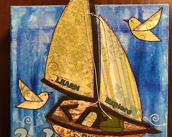 Learn, Explore, Discover Ship 10 X 10 Mixed Media Art on Canvas