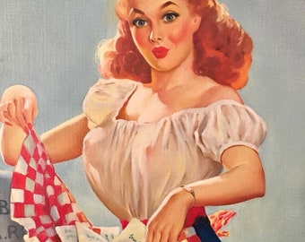 ELVGREN and CARLYLE Original Getting Posted or Fan Mail Farmer's Daughter 1948 Vintage PinUp Painting Rare Famous Pin-Up 1st Time Offered
