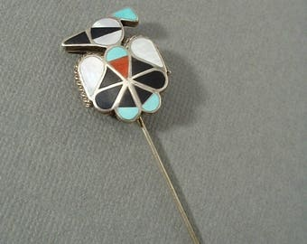Vintage STERLING Native American ZUNI Brooch, Thunderbird STICKPIN, Turquoise Coral Jet Mother Pearl, Inlay Mosaic Pin, Gift for Her