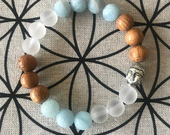 Turquoise and Clear Quartz with Bayong Wood Bracelet