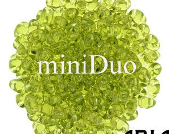 OLIVINE: MiniDuo Two-Hole Czech Glass Seed Beads, 2x4mm (10 grams)