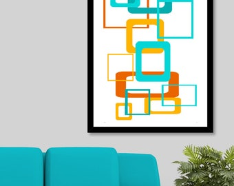 Wall Art, Poster, Modern Art, Home Decor, Mid Century Modern, Wall Decor, Retro, Geometric, Bathroom Wall Decor, Mid Century, Turquoise