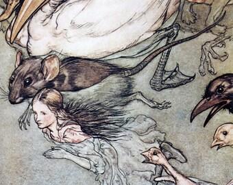 Arthur Rackham Alice in Wonderland Vintage Art Print, Pool of Tears