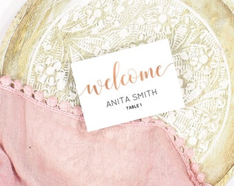 Rose gold wedding place cards, Rose gold place cards, Blush place cards, Wedding guest name cards, Guest name tags, Rose gold wedding decor