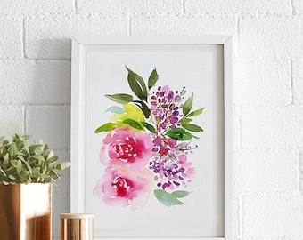 Peonies, Watercolor painting, Flowers, Floral Print, Printable art, Home decor, Original art, Floral wall art, Instant Download