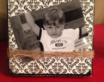 Rustic Wood Photo Frame with Decoupage Scrapbook Paper & Twine Holder