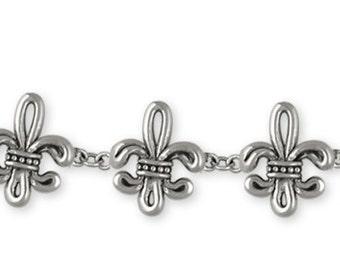 Fleur De Lis Bracelet Jewelry Sterling Silver Handmade Flower Bracelet FD13-BR