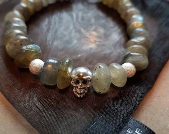 Labradorite Rondelles and 925 Sterling Silver Skull Charm bracelet.