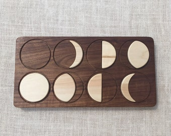 Moon Phases Puzzle -- Solid Hardwood Waldorf Montessori Toy -- From Jennifer