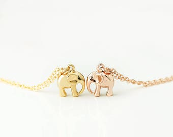 3D Elephant Pendant Necklace Dainty Minimalist Necklace Animal Lover Kids Inspirational Jewelry - 3EN